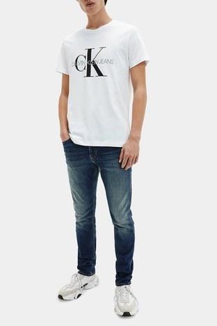 Calvin Klein - Calvin Klein Logolu Pamuklu Slim Fit Erkek T Shirt J30J314314 YAF BEYAZ (1)