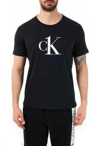 Calvin Klein Rahat Kesim Baskılı Bisiklet Yaka % 100 Pamuk Erkek T Shirt KM0KM00646 BEH SİYAH