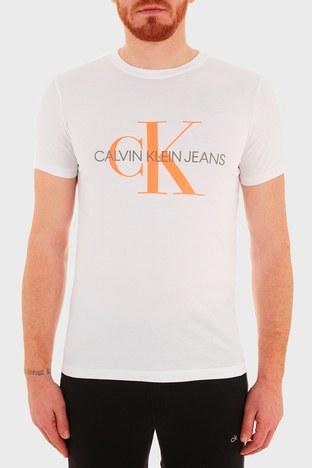 Calvin Klein - Calvin Klein Slim Fit Baskılı Bisiklet Yaka % 100 Pamuk Erkek T Shirt J30J317065 YAF BEYAZ