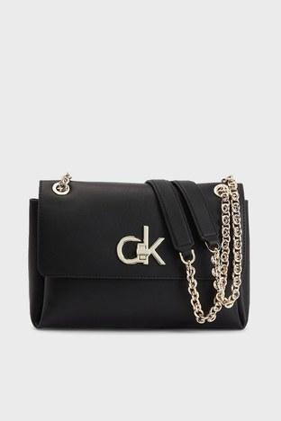 Calvin Klein - Calvin Klein Zincir Detaylı Deri Bayan Çanta K60K608174 BAX SİYAH