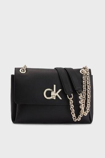 Calvin Klein Zincir Detaylı Deri Bayan Çanta K60K608174 BAX SİYAH