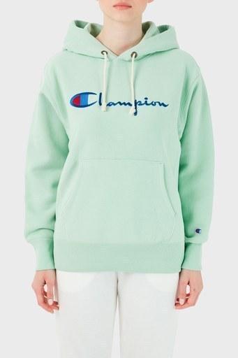 Champion Baskılı Kapüşonlu Kanguru Cepli % 100 Pamuk Bayan Sweat 113149 HML GS068 YEŞİL