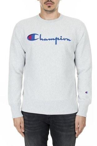 Champion - Champion İşlemeli Yazı Logolu Bisiklet Yaka Erkek Sweat 212576 EM004 LOXGM AÇIK GRİ