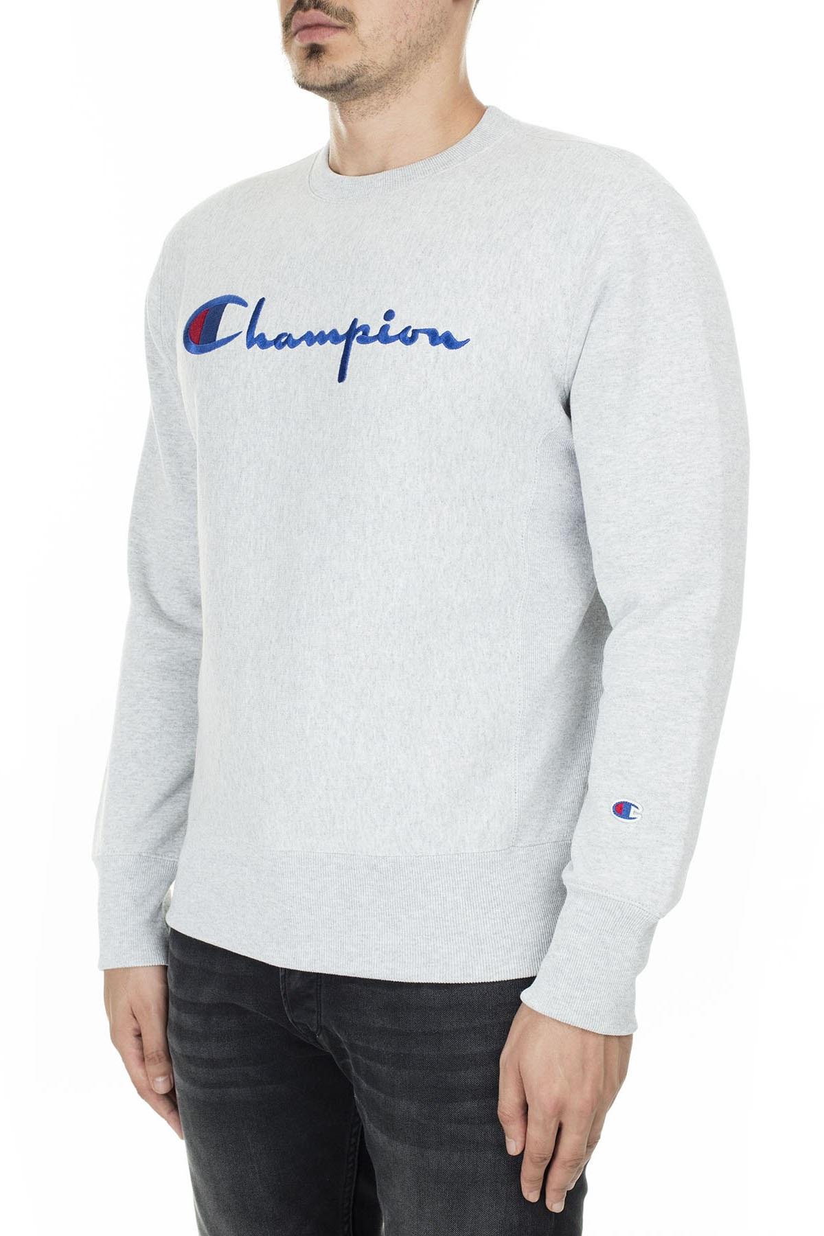 Champion İşlemeli Yazı Logolu Bisiklet Yaka Erkek Sweat 212576 EM004 LOXGM AÇIK GRİ