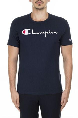 Champion - Champion İşlemeli Yazı Logolu Bisiklet Yaka Erkek T Shirt 210972 BS501 NNY LACİVERT