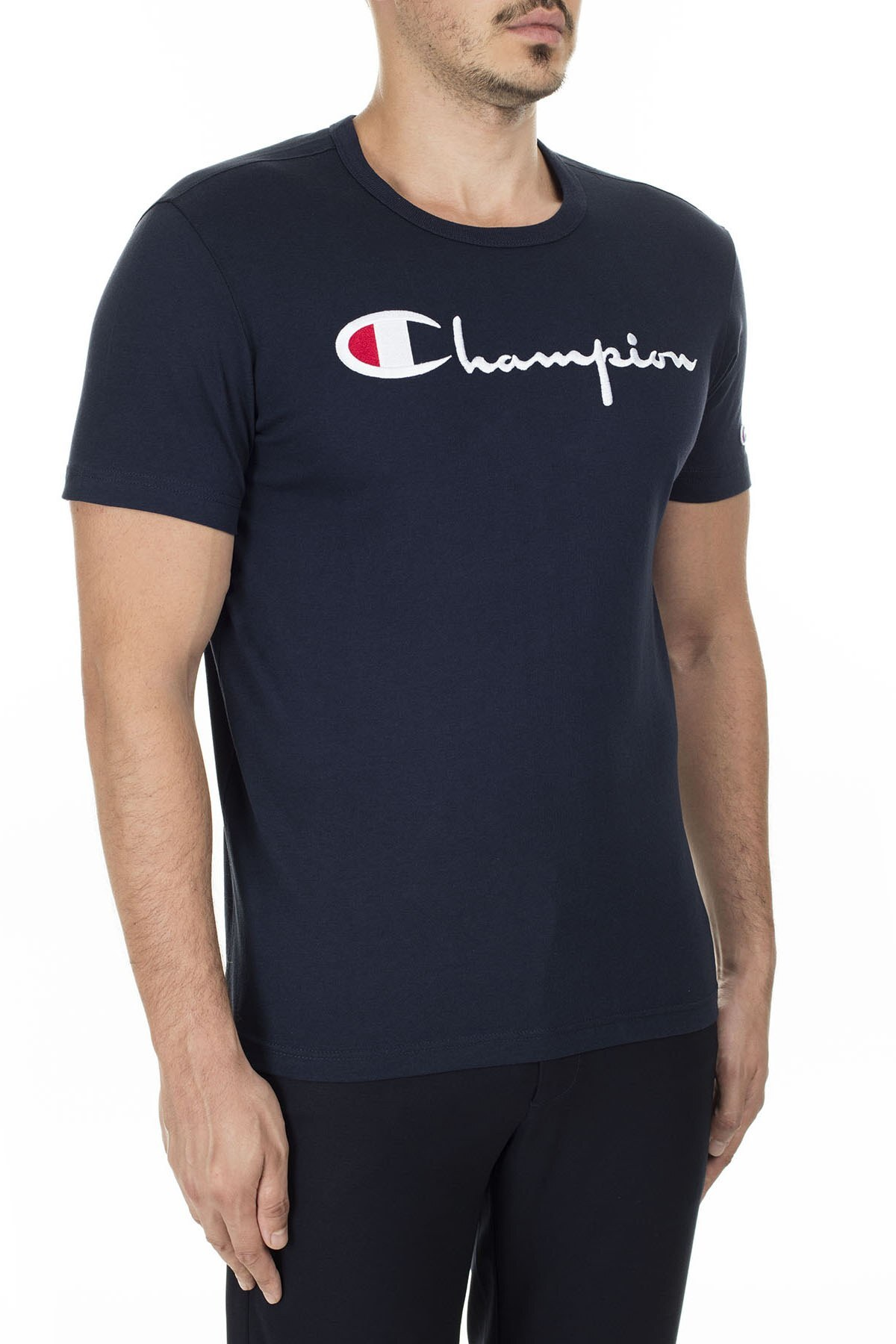 Champion İşlemeli Yazı Logolu Bisiklet Yaka Erkek T Shirt 210972 BS501 NNY LACİVERT