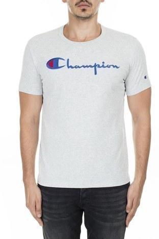 Champion - Champion İşlemeli Yazı Logolu Bisiklet Yaka Erkek T Shirt 210972 EM004 LOXGM AÇIK GRİ