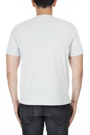 Champion - Champion İşlemeli Yazı Logolu Bisiklet Yaka Erkek T Shirt 210972 EM004 LOXGM AÇIK GRİ (1)