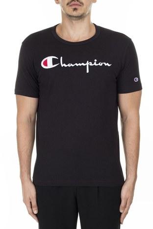 Champion İşlemeli Yazı Logolu Bisiklet Yaka Erkek T Shirt 210972 KK001 NBK SİYAH