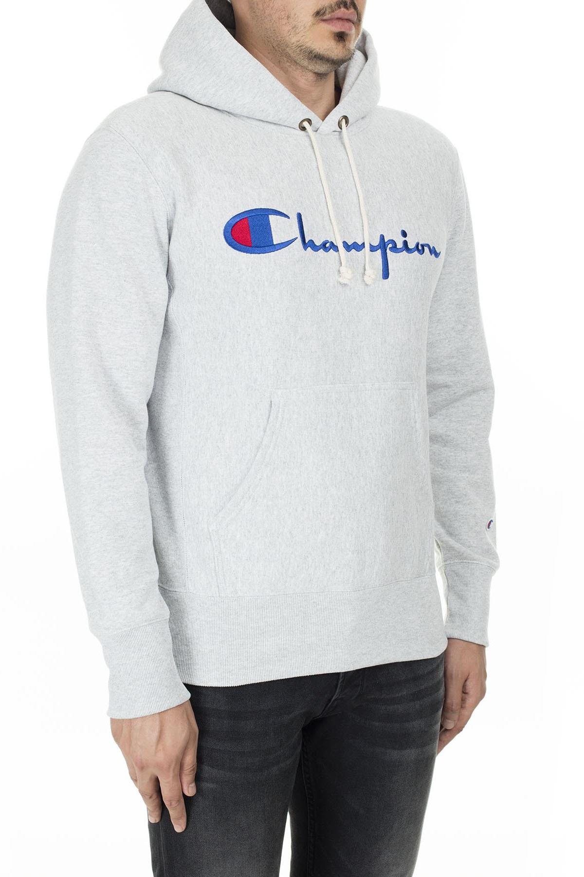 Champion Kanguru Cepli Kapüşonlu Erkek Sweat 212574 EM004 LOXGM AÇIK GRİ