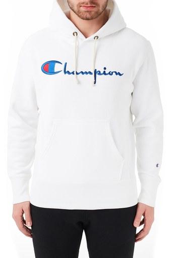 Champion Kapüşonlu Kanguru Cepli % 100 Pamuk Erkek Sweat 215159 WHT WW01 BEYAZ