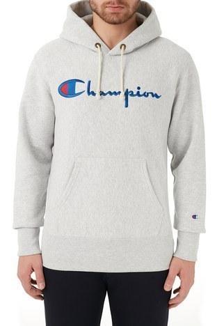 Champion - Champion Kapüşonlu Kanguru Cepli Pamuklu Erkek Sweat 215159 LOXGM EM004 GRİ