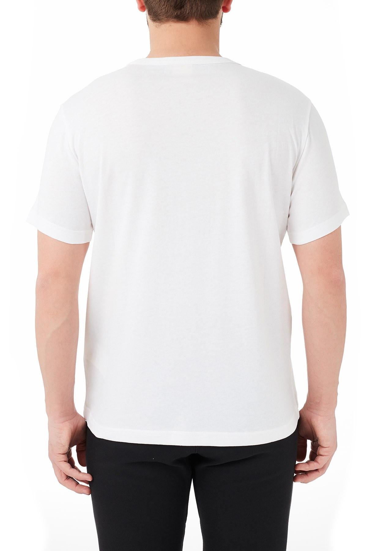 Champion Regular Fit Bisiklet Yaka % 100 Pamuk Erkek T Shirt 214674 WHT WW01 BEYAZ
