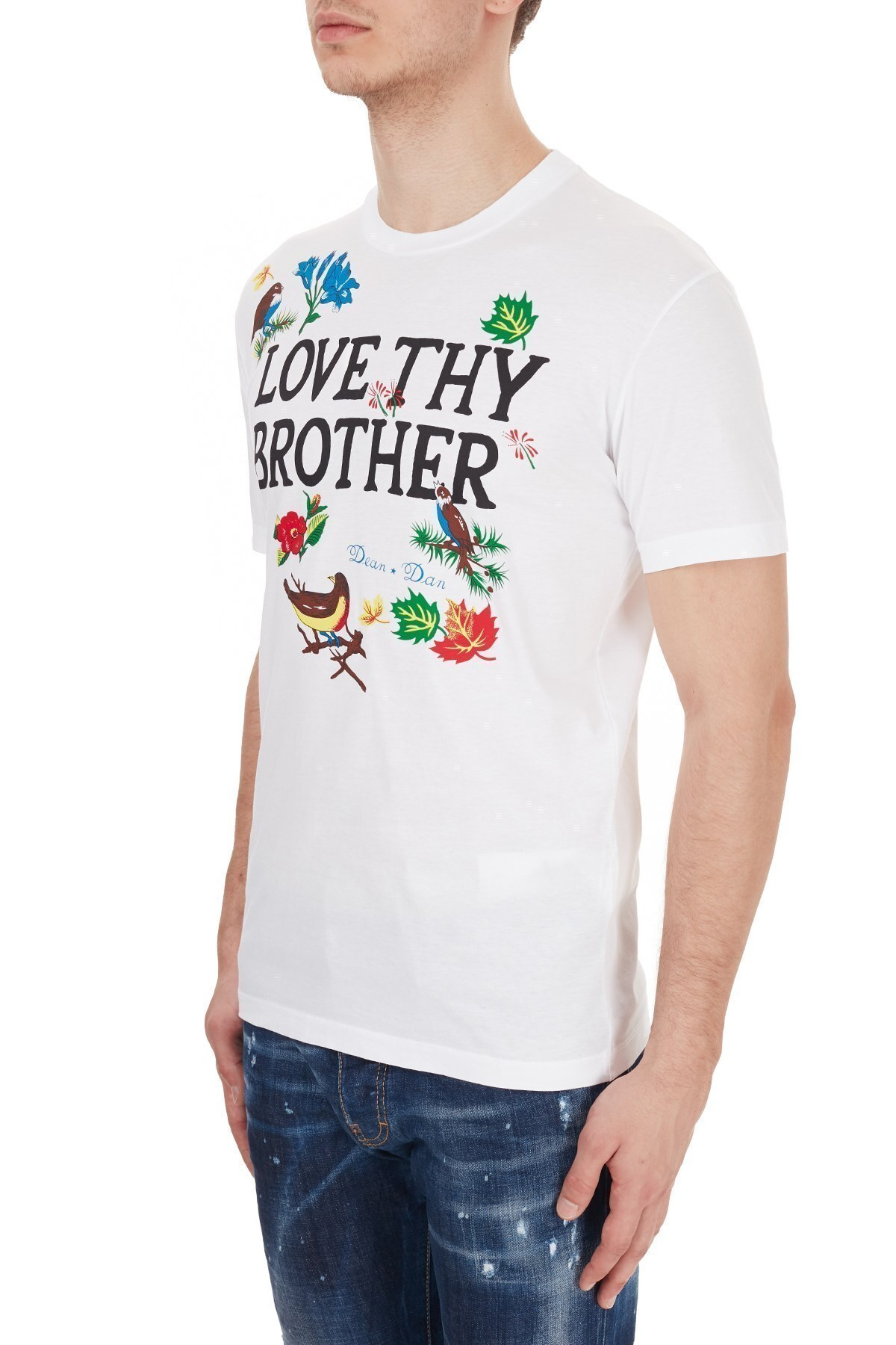Dsquared2 Erkek T Shirt S71GD0947 S22427 100 BEYAZ