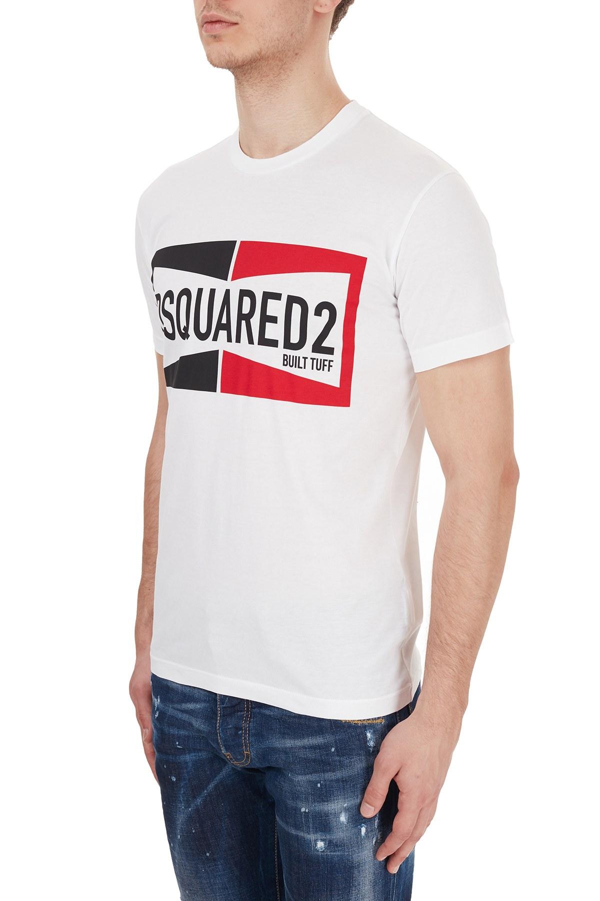 Dsquared2 Erkek T Shirt S71GD0981 S22427 100 BEYAZ