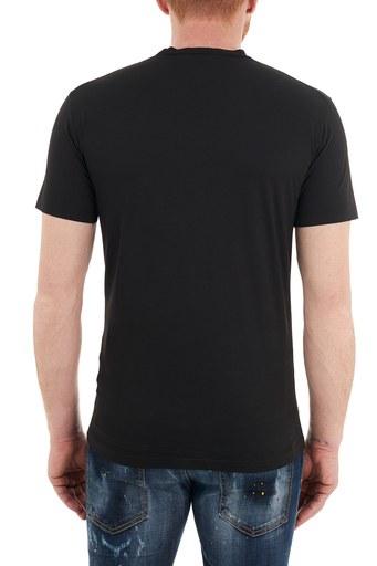 Dsquared2 Baskılı Bisiklet Yaka % 100 Pamuk Erkek T Shirt S74GD0830 S22427 900 SİYAH