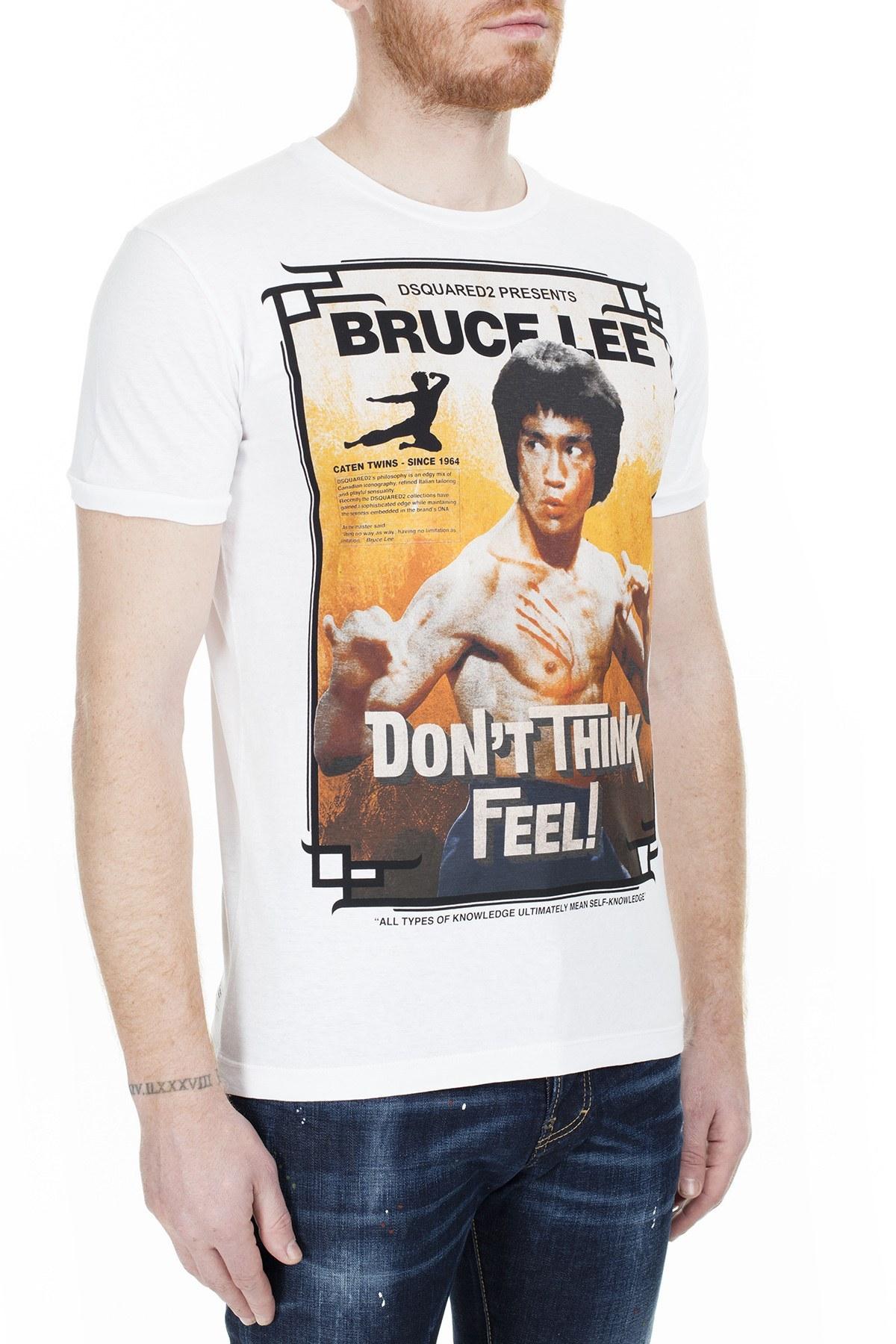 Dsquared2 Erkek T Shirt S71GD0900 S22507 100 BEYAZ