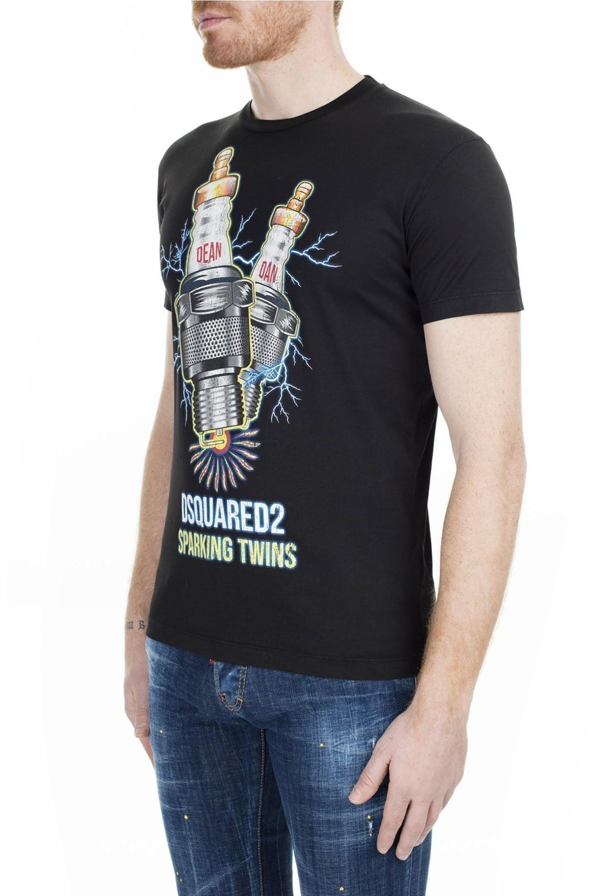 Dsquared2 Regular Fit Erkek T Shirt S74GD0638 S22427 900 SİYAH