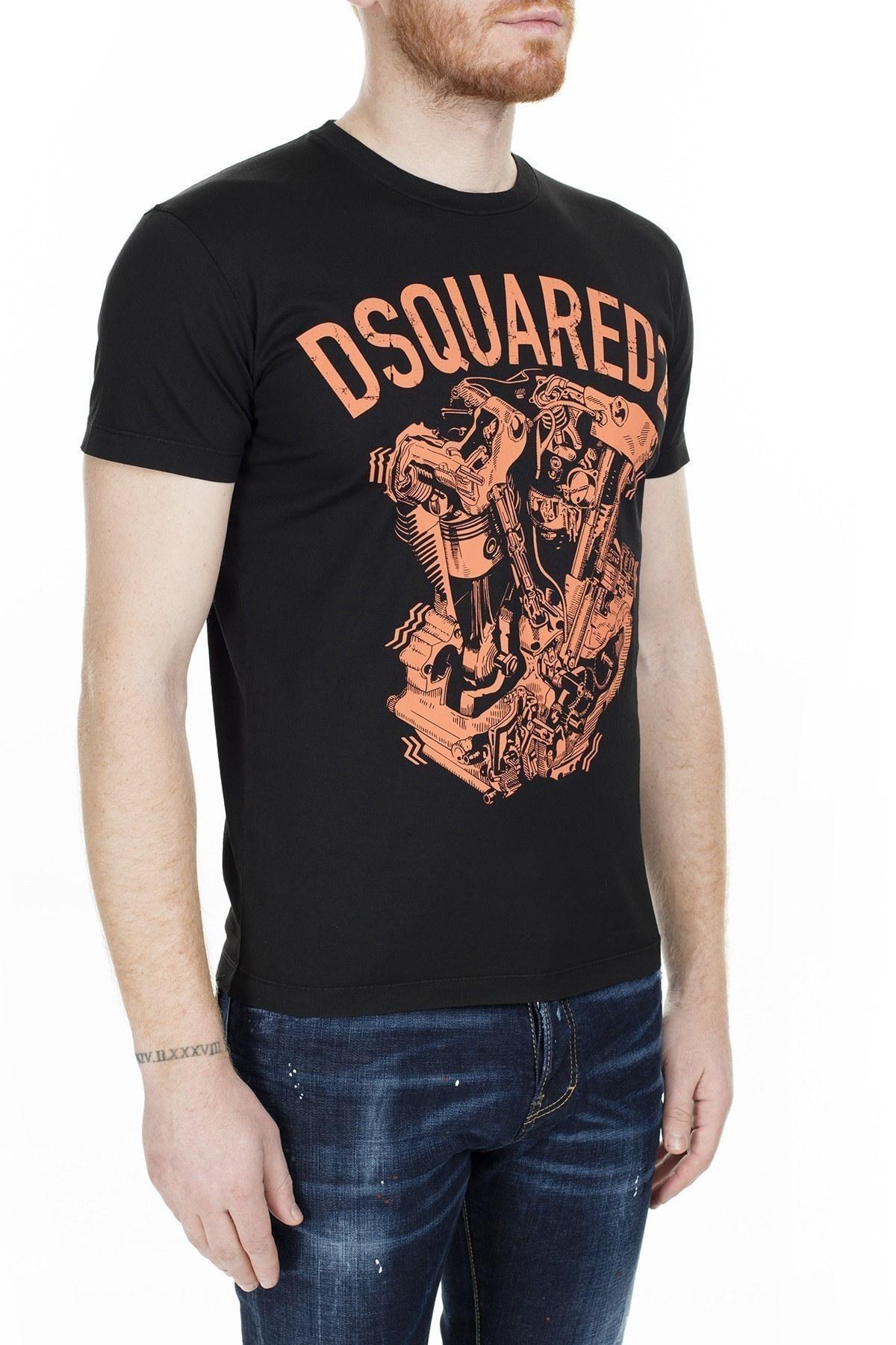 Dsquared2 Slim Fit Erkek T Shirt S74GD0636 S22427 900 SİYAH