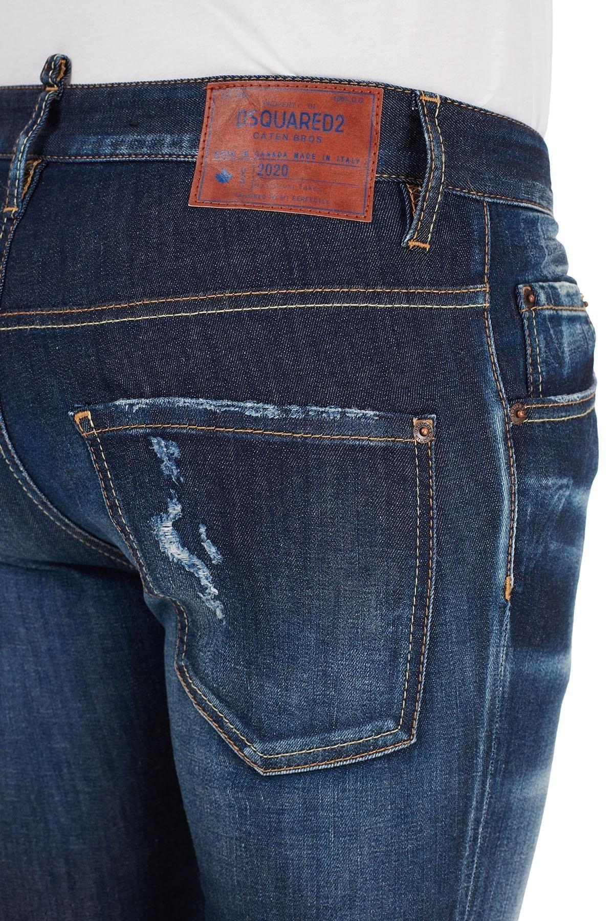 Dsquared2 Slim Fit Pamuklu Jeans Erkek Kot Pantolon S74LB0793 S30685 470 LACİVERT