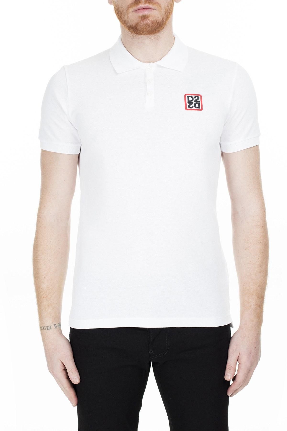 Dsquared2 T Shirt Erkek Polo S74GL0035 S22743 100 BEYAZ