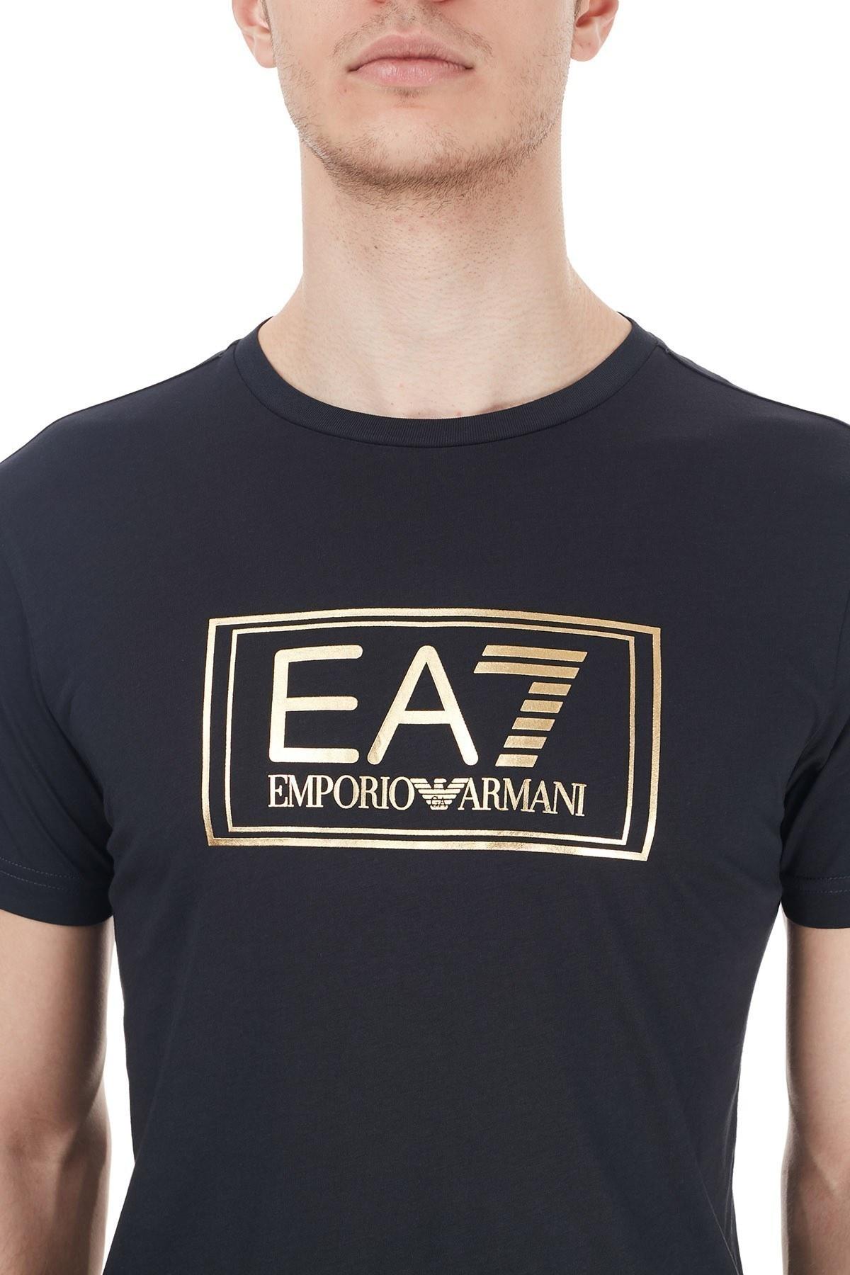 EA7 Baskılı Bisiklet Yaka % 100 Pamuk Erkek T Shirt 6HPT51 PJM9Z 1578 LACİVERT