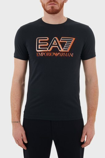 EA7 Baskılı Bisiklet Yaka % 100 Pamuk Erkek T Shirt S 6HPT16 PJ02Z 1578 LACİVERT