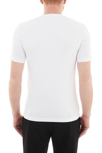 EA7 Baskılı Bisiklet Yaka Pamuklu Erkek T Shirt S 6HPT62 PJ03Z 1100 BEYAZ