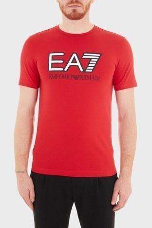EA7 - EA7 Baskılı Bisiklet Yaka Pamuklu Erkek T Shirt S 6HPT62 PJ03Z 1451 KIRMIZI
