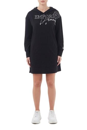 EA7 Baskılı Kapüşonlu Kanguru Cepli Örme Kadın Elbise 6HTM14 TJ9FZ 1200 SİYAH