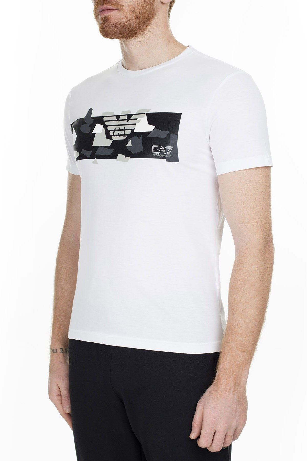 EA7 Erkek T Shirt 3GPT09 PJT7Z 1100 BEYAZ
