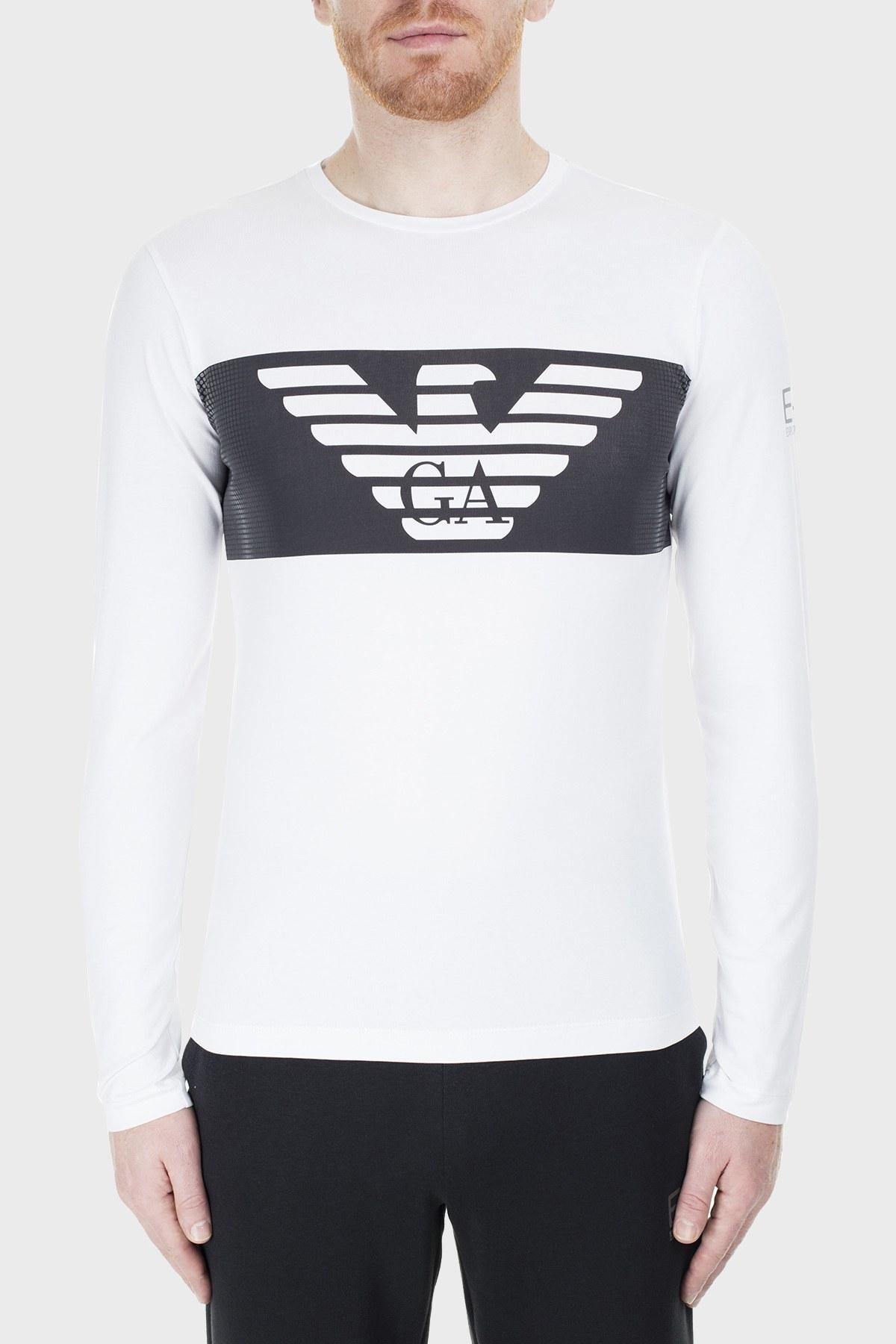 EA7 Erkek T Shirt S 6GPT59 PJQ9Z 1100 BEYAZ
