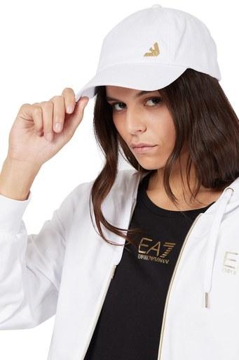 EA7 Marka Logolu % 100 Pamuk Kadın Şapka 285559 1P101 00010 BEYAZ