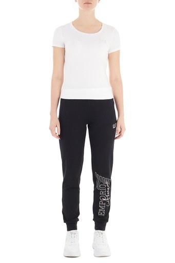 EA7 Pamuklu Belden Bağlamalı Eşofman Altı Kadın Pantolon 6HTP71 TJ9FZ 1200 SİYAH