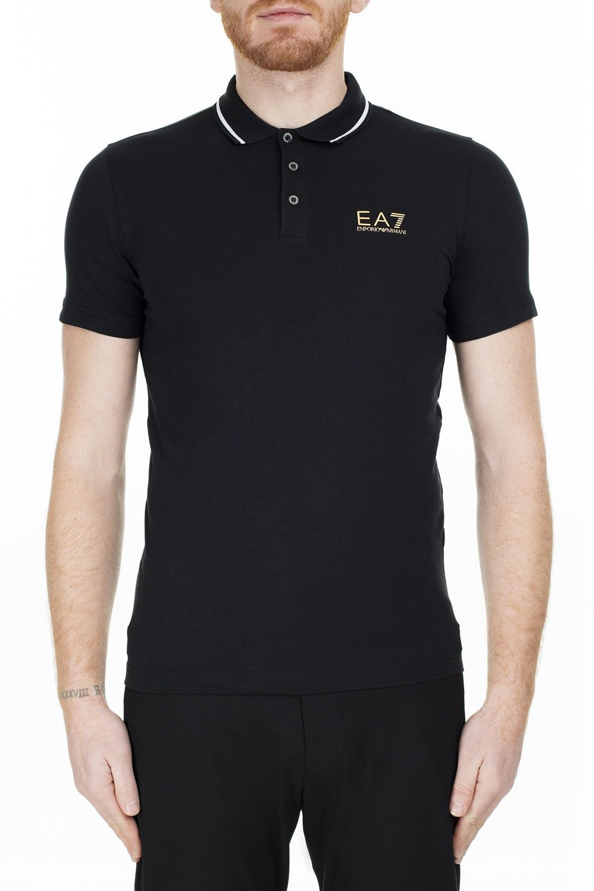 EA7 T Shirt Erkek Polo S 3GPF51 PJM5Z 0208 SİYAH
