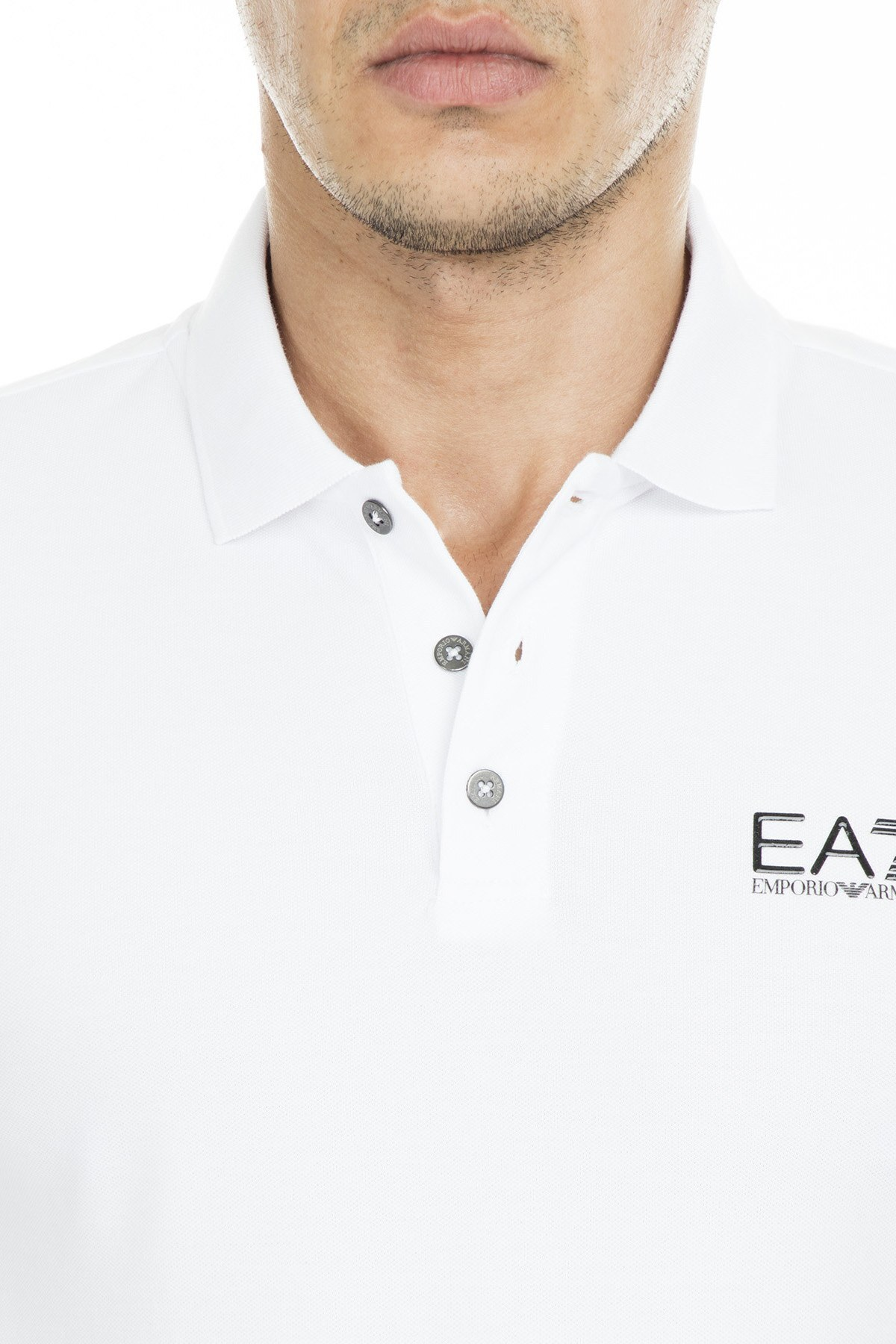EA7 T Shirt Erkek Polo S 3GPF52 PJ04Z 1100 BEYAZ