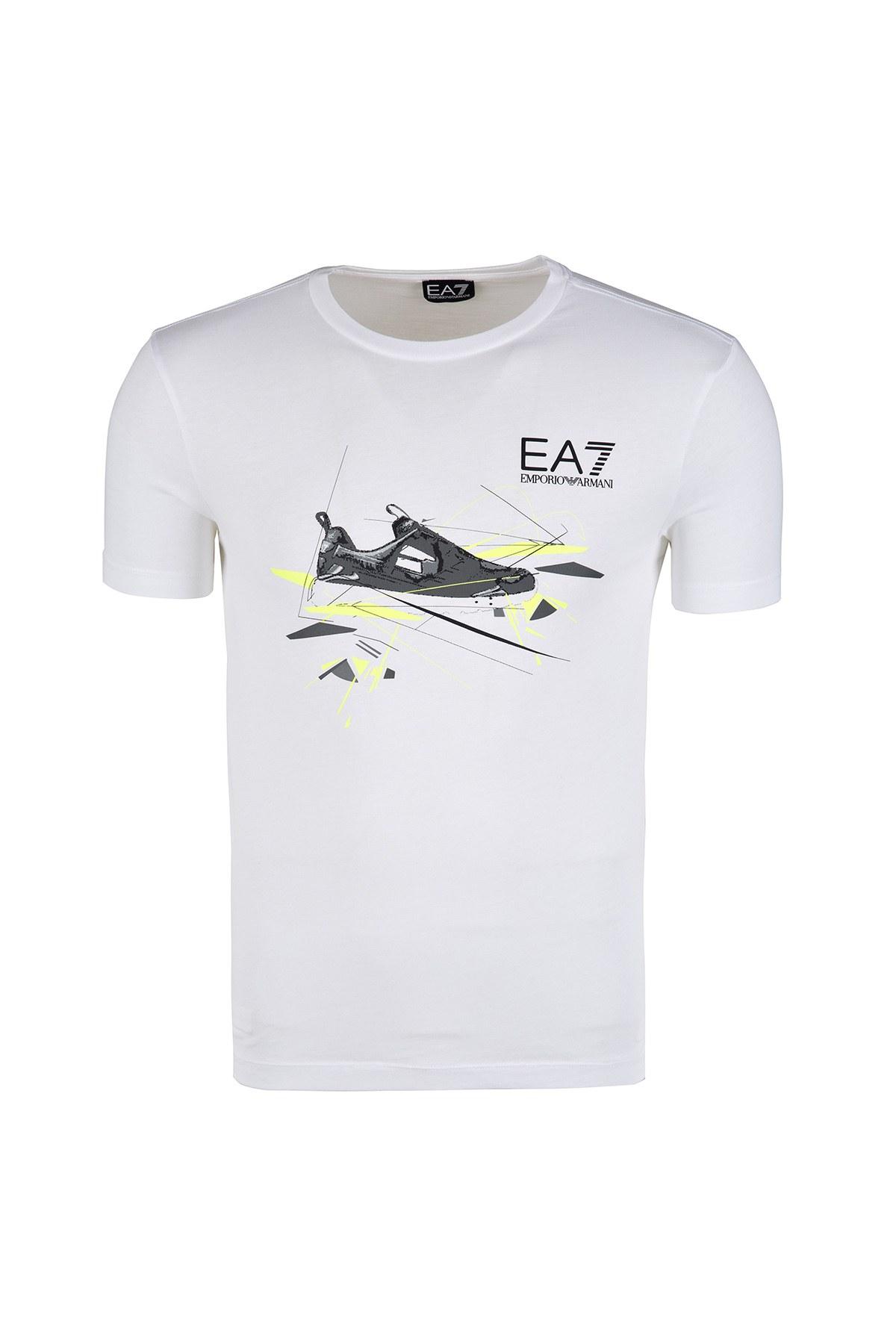 EA7 T SHIRT Erkek T Shirt 3ZPT50 PJM9Z 1100 BEYAZ
