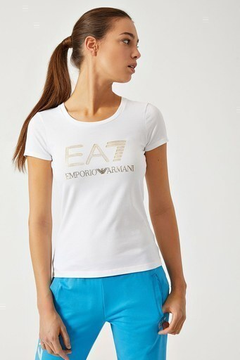 EA7 T SHIRT Kadın T Shirt 3ZTT82 TJ12Z 1100 BEYAZ