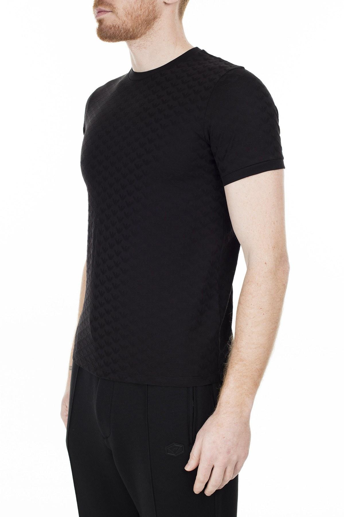 Emporio Armani % 100 Pamuk Bisiklet Yaka Erkek T Shirt S 6G1TL7 1JHWZ 0999 SİYAH