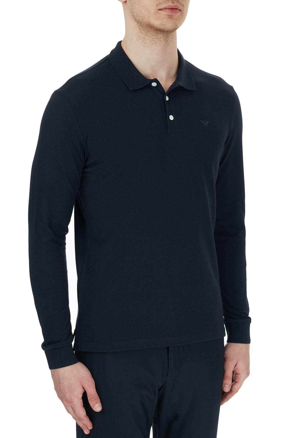 Emporio Armani % 100 Pamuk Düğmeli T Shirt Erkek Polo 8N1F13 1J0SZ 0939 LACİVERT
