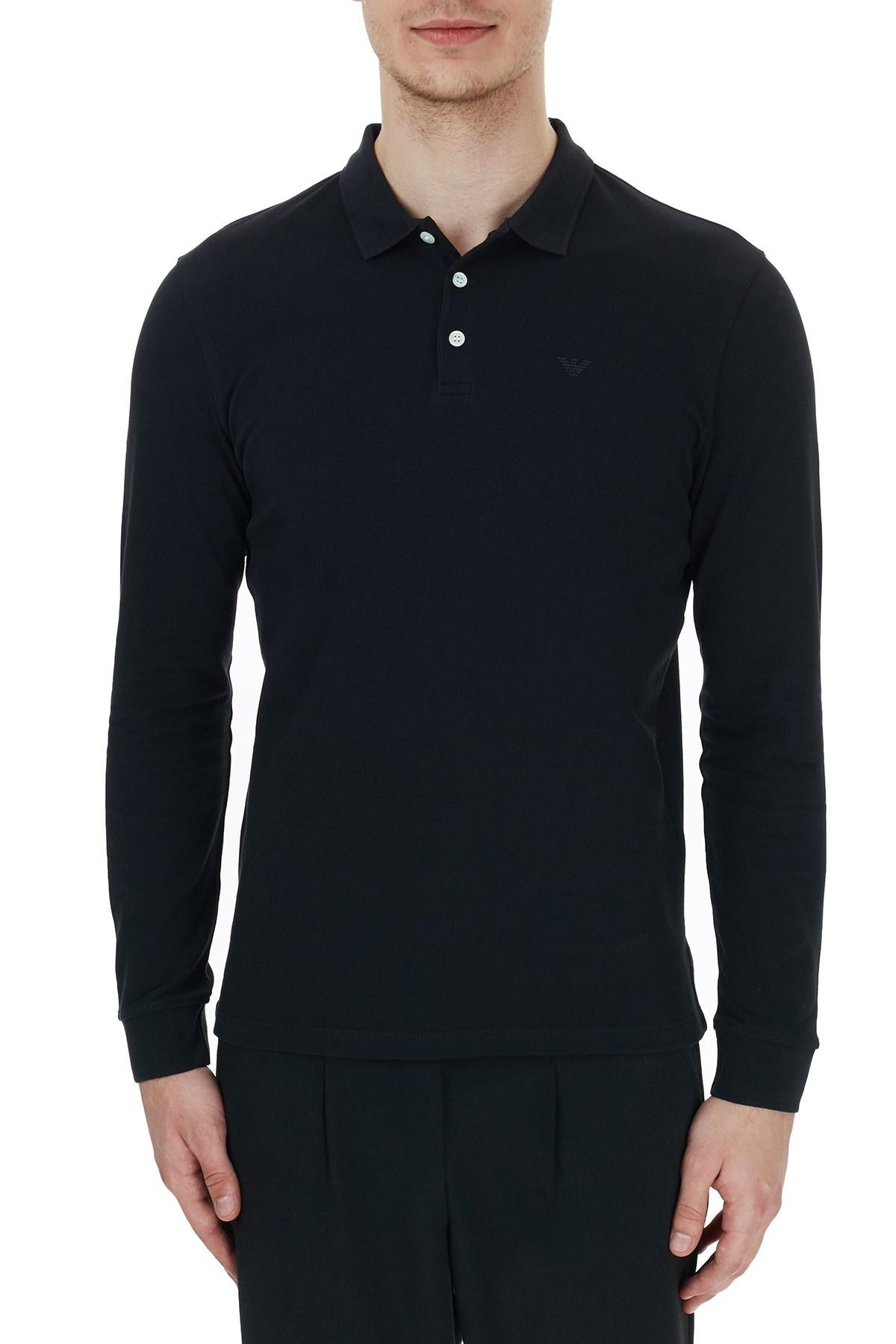 Emporio Armani % 100 Pamuk Düğmeli T Shirt Erkek Polo 8N1F13 1J0SZ 0999 SİYAH