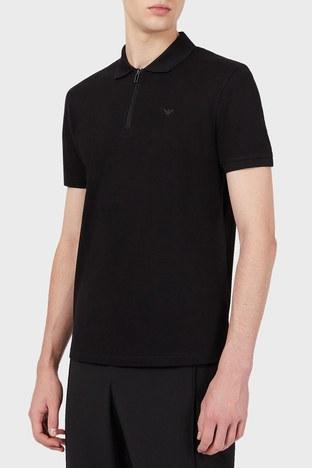 Emporio Armani - Emporio Armani % 100 Pamuk Fermuarlı T Shirt Erkek Polo 3K1FA8 1JTKZ 0999 SİYAH