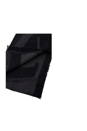 Emporio Armani % 100 Yünlü Logo Baskılı Erkek Şal 625009 0P306 00120 SİYAH