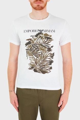 Emporio Armani - Emporio Armani Baskılı Bisiklet Yaka % 100 Pamuk Erkek T Shirt 211818 1P468 69610 BEYAZ
