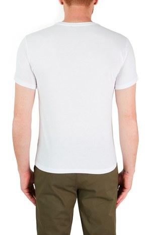 Emporio Armani - Emporio Armani Baskılı Bisiklet Yaka % 100 Pamuk Erkek T Shirt 211818 1P468 69610 BEYAZ (1)