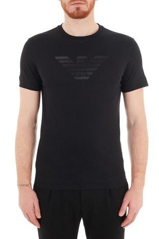 Emporio Armani - Emporio Armani Baskılı Bisiklet Yaka % 100 Pamuk Erkek T Shirt 3K1TE6 1JSHZ 0999 SİYAH