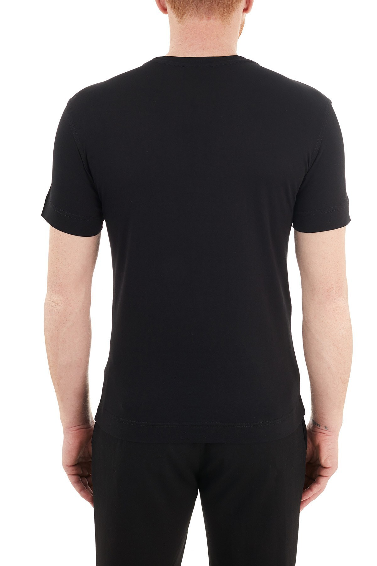 Emporio Armani Baskılı Bisiklet Yaka % 100 Pamuk Erkek T Shirt 3K1TE6 1JSHZ 0999 SİYAH