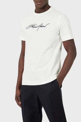 Emporio Armani - Emporio Armani Baskılı Bisiklet Yaka % 100 Pamuk Erkek T Shirt 3K1TL6 1JULZ 0101 BEYAZ
