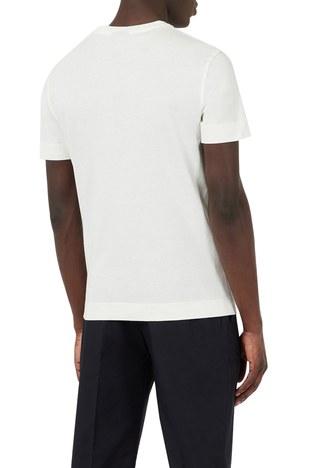 Emporio Armani - Emporio Armani Baskılı Bisiklet Yaka % 100 Pamuk Erkek T Shirt 3K1TL6 1JULZ 0101 BEYAZ (1)