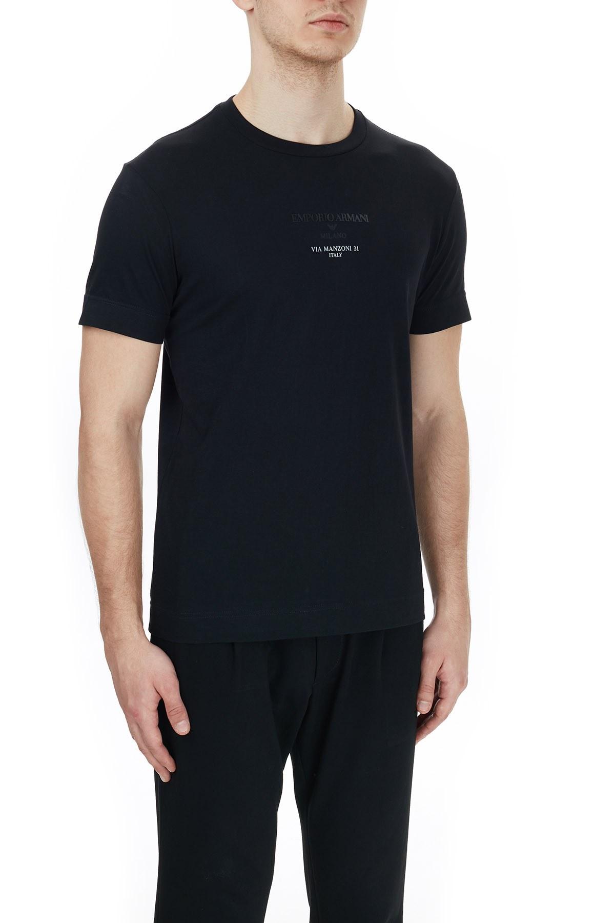 Emporio Armani Baskılı Bisiklet Yaka % 100 Pamuk Erkek T Shirt 6H1T6G 1JSHZ 0999 SİYAH